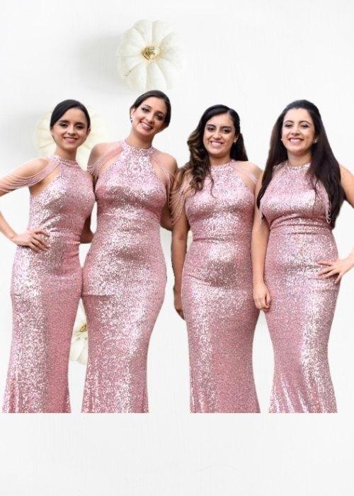 Vestido largo rosa damas de honor