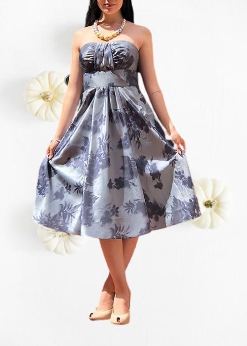 Vestido gris satinado flores