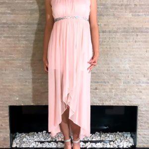 vestido rosa largo elegante fiesta