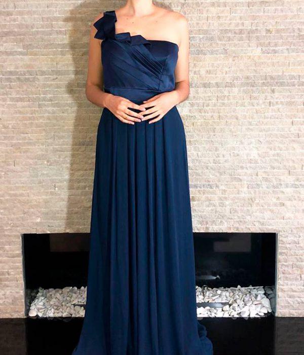 Vestido gala largo azul petróleo para matrimonio noche