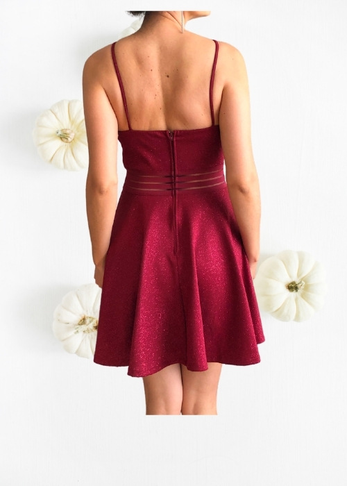 Vestido Elegante Corto rojo oscuro