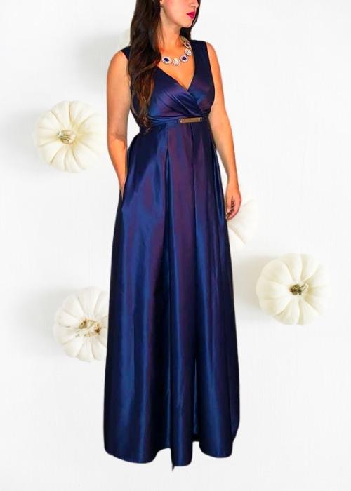 Vestido largo satinado elegante